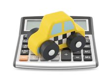Calculator and taxi toy car Stock Images