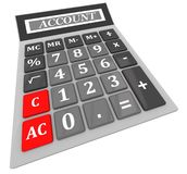 Calculator with the word account Stock Photos