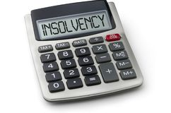 Calculator with the word Insolvency Royalty Free Stock Image