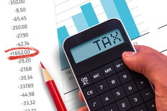 Calculator with the word Tax Royalty Free Stock Photography