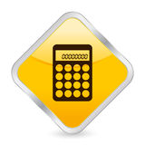 Calculator yellow square icon Stock Image