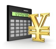 Calculator and yen symbol. Isolated on white background.3d rendered Stock Image