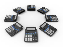 Calculators array. 3D render illustration of multiple calculators arranged in a circular array. The composition is isolated on a white background with shadows Stock Photography