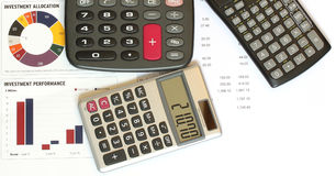 Calculators and financial figures and graphs Royalty Free Stock Image