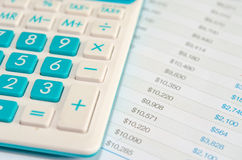 Calculators and Financial Statements Stock Images