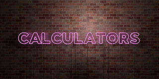 CALCULATORS - fluorescent Neon tube Sign on brickwork - Front view - 3D rendered royalty free stock picture Stock Photos