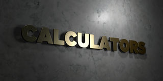 Calculators - Gold text on black background - 3D rendered royalty free stock picture Royalty Free Stock Photography