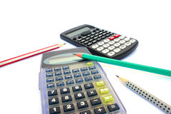 Calculators and pencils Royalty Free Stock Image
