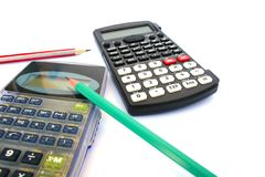 Calculators and pencils Royalty Free Stock Photos