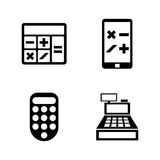 Calculators. Simple Related Vector Icons. Set for Video, Mobile Apps, Web Sites, Print Projects and Your Design. Black Flat Illustration on White Background Royalty Free Stock Image