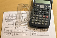 Calculators, spreadsheets, protractor Stock Images