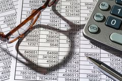 Calculators and statistk Stock Images