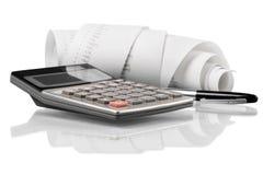 Calculatrice avec de bande paerforée enroulé Image stock