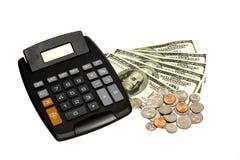 Calculatrice avec de l'argent XXXL Photographie stock libre de droits