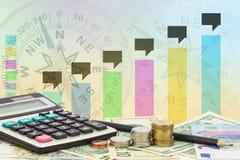 Calculatrice avec la pièce de monnaie, crayon sur des billets de banque euro d'argent et dollars Photo libre de droits