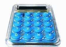 Calculatrice bleue, d'isolement sur le blanc Image libre de droits