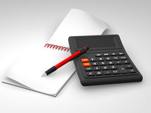 Calculatrice, cahier Photo stock