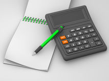 Calculatrice, cahier Photos stock