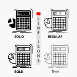 calculatrice, calcul, maths, progr?s, ic?ne de graphique dans la ligne et le style minces, r?guliers, audacieux de Glyph Illustra illustration de vecteur