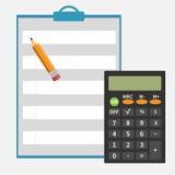 Calculatrice, crayon, bloc-notes Photos libres de droits
