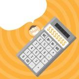 Calculatrice d'argent liquide Images libres de droits