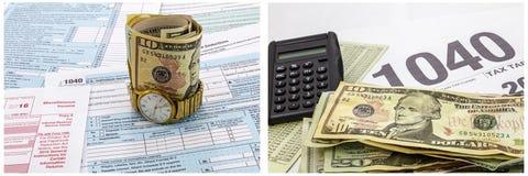 Calculatrice d'horloge d'argent liquide de feuilles d'impôt d'IRS Photos stock