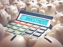 Calculatrice d'investissement de tirelire Photographie stock libre de droits