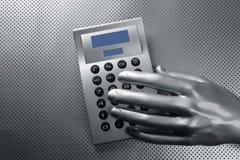 Calculatrice de main argentée futuriste d'affaires Images stock