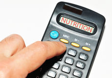 Calculatrice de nutrition Photo stock