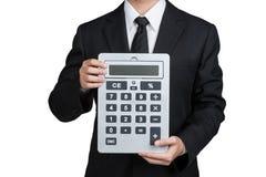 Calculatrice de prise d'homme d'affaires dans d'isolement Photos stock
