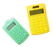 Calculatrice deux colorée Photographie stock