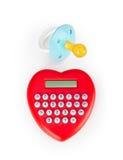 Calculatrice en forme de coeur et tétine Images stock