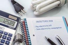 Calculatrice et argent à côté d'une ampoule, écrivant pendant l'année 2018 d'ordre du jour image libre de droits