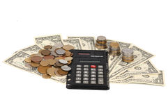 Calculatrice et argent Images libres de droits