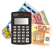 Calculatrice et argent différent Photographie stock