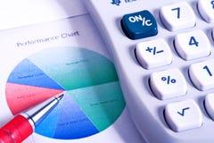 Calculatrice et figures financières Photographie stock