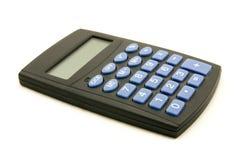 Calculatrice noire avec les boutons bleus Images libres de droits
