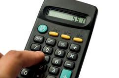 Calculatrice noire d'isolement sur le fond blanc image libre de droits