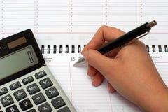 Calculatrice, organisateur et crayon lecteur Image libre de droits