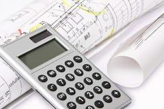 Calculatrice, plans de construction Images libres de droits