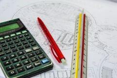 Calculatrice pour l'estimation des coûts Images stock