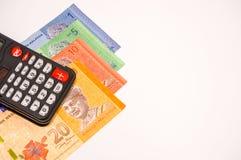 Calculatrice sur des notes de la Malaisie Image libre de droits