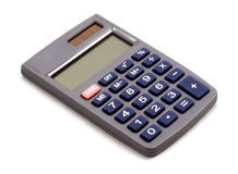 Calculatrice sur le fond blanc avec l'ombre Images libres de droits