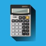 Calculatrice sur le fond bleu Image stock