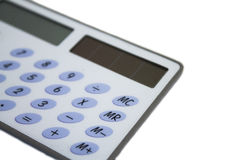 Calculatrice sur un fond blanc Photographie stock libre de droits