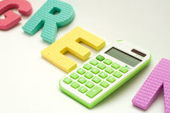 Calculatrice verte Photos libres de droits