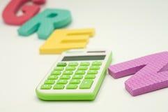 Calculatrice verte Photographie stock libre de droits