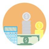 Calcule el icono del dinero ilustración del vector