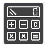 Calcule el icono, el negocio y la calculadora sólidos stock de ilustración