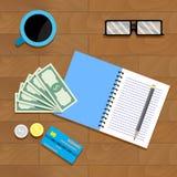 Calcule el presupuesto fiscal stock de ilustración